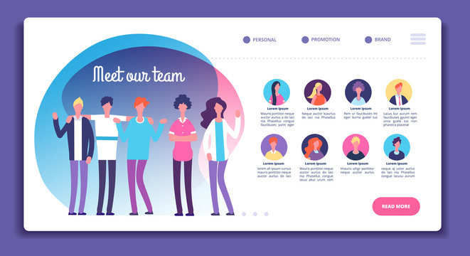 Our team page. Staff organization structure. About us webpage with professional avatars, male female bright faces. Vector template. Business team and teamwork page website illustration