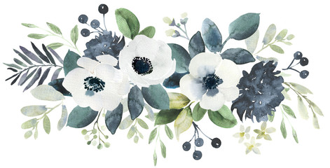 Watercolor wedding floral bouquet composition with black and white hellebore and eucalyptus