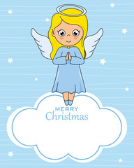 Angel card on cloud with space for text