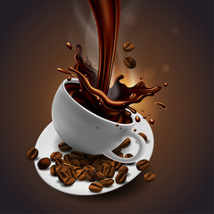 Cup of coffee, coffee beans and splash effect,  high detailed realistic transparent  illustration.