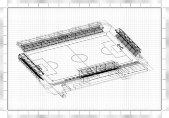 Soccer Stadium Design Architect Blueprint