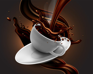 Cup of hot chocolate with splash effect and  transparent steam. High detailed realistic transparent  illustration.