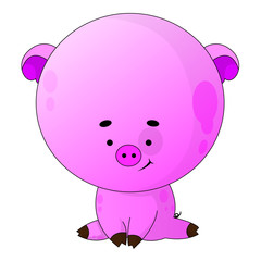 Vector illustration Happy Smiling Little Baby Pig.
