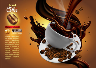 Coffee advertising design with cup of coffee and splash effect,  high detailed realistic illustration