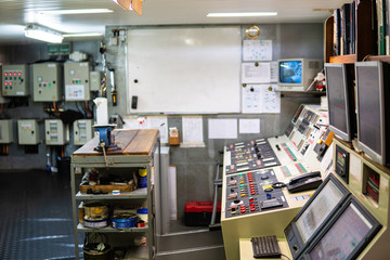 Ship or vessel engine control room ECR. Place to start engine