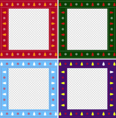 Christmas or new year multiciolored border set on transparent background.