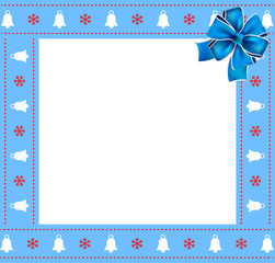 Cute Christmas or new year border with xmas bells, snowflakes pattern and blue bow on white background.