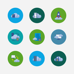Cloud service icons set. Secure account and cloud service icons with virtual machine, data storage and cloud security. Set of padlock for web app logo UI design.