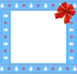 Cute Christmas or new year blue border with xmas bells, snowflakes pattern and red bow on white background.