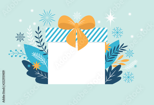 bif gift box christmas banner new year greeting card