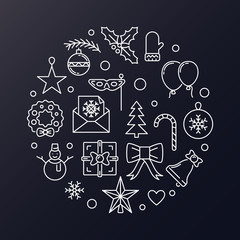 Merry Christmas round vector modern outline illustration