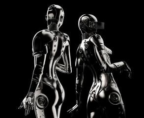 Two fashion robots on black background.