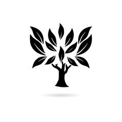 Black Green tree logo design icon or logo
