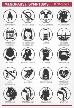 20 Menopause Symptoms. Set of icons. Vector illustration