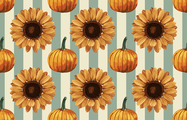 Printable seamless vintage autumn repeat pattern background with pumpkins and sunflowers. Botanical wallpaper, raster illustration in super High resolution.
