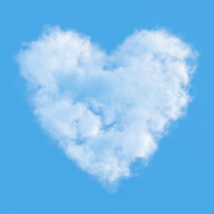 Cloud in shape of heart against blue sky. 3D illustration.