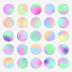 Holographic round frames set. Trendy backdrops for logos, signs or letering. Hologram bubbles. Pastel smooth textures. Modern vector backgrounds for web design or printed products.