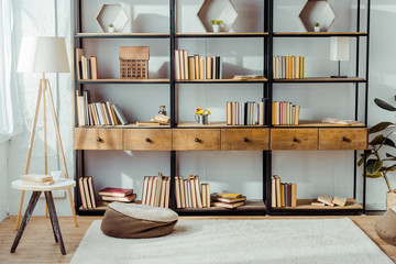 interior of living room with wooden furniture and books