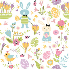 Seamless pattern Happy Easter hand drawn cute vector illustration with bunny rabbit eggs spring flowers bird on white