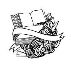 Doodle art with open books with ribbon and pen. Vector concept of learning, library, education. Linear graphics. Hand drawn illustration.