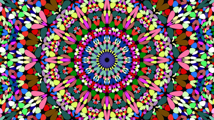 Colorful flower kaleidoscope mandala background design - abstract symmetrical vector ornament wallpaper graphic