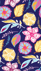 Hand drawn doodle floral pattern background