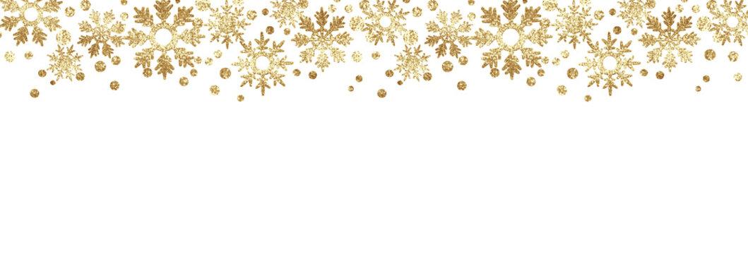 Golden glitter snowflake borders