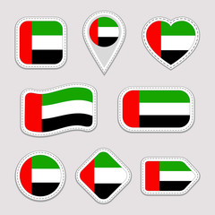 UAE flag stickers set. Emirates national symbols badges. Isolated geometric icons. AE vector official flags collection. Sport pages, patriotic, travel, school, design elements. Different shapes.