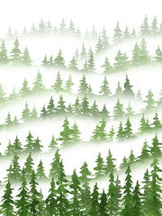 Christmas and New Year watercolor mountains landscape with green silhouettes of pine trees