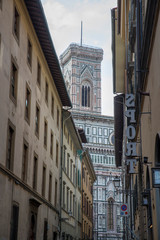 """FLORENCE, ITALY - OCTOBER 28, 2018: Florence Cathedral, formally the Cattedrale di Santa Maria del Fiore, in English """"Cathedral of Saint Mary of the Flower"""""""