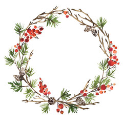 Watercolor Christmas wreath of spruce, pine cones and holly berries