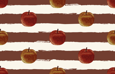Printable seamless vintage autumn repeat pattern background with red apple. Botanical wallpaper, raster illustration in super High resolution.