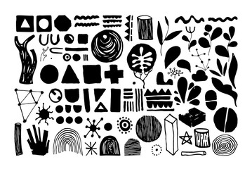 Set of creative universal floral elements. Hand Drawn textures