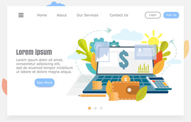 illustration of a laptop with data, earnings through the Internet, research, statistics, financial management concept. Vector illustration for websites and banners.