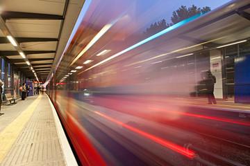Bluured motion of train