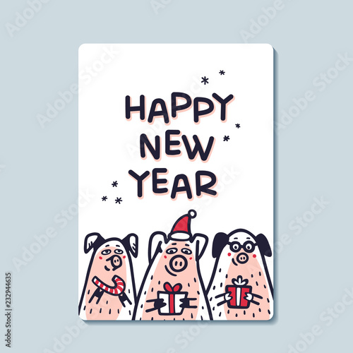 79072ecbdb6dc Happy new year Pig greeting card. Funny pigs with candy canes