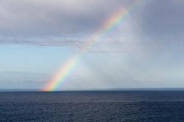 Arcoíris en el cielo sobre el Mar Cantábrico. Cabo de Peñas, Asturias.