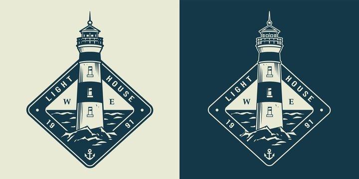 Vintage monochrome sea and nautical label
