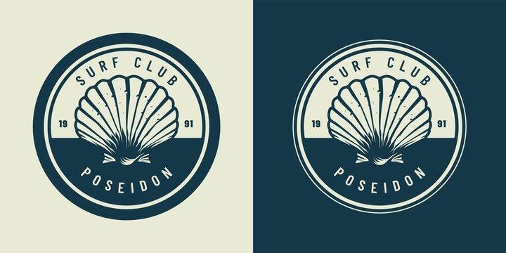 VIntage monochrome marine and sea emblem