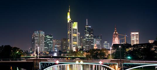 Frankfurt skyline, night.