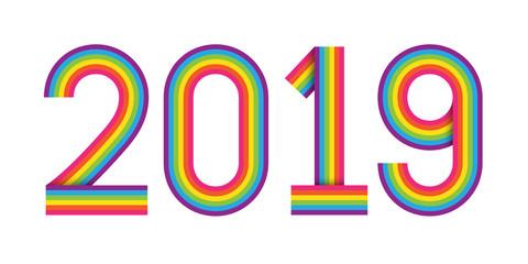 2019 rainbow stripes typography icon
