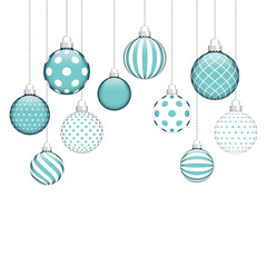 10 Hanging Christmas Balls Pattern Blue/White