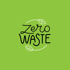 Vector logo design template and badge in trendy linear style - zero waste concept, recycle and reuse, reduce