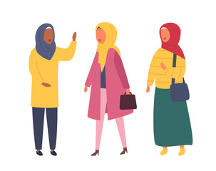 Hijab muslim woman. Arab modern fashion. Vector people