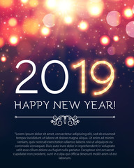 Happy Hew 2019 Year Fileworks, Lights and Bokeh Effect.