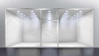 Empty shop. Place for the exhibition. Vector illustration.