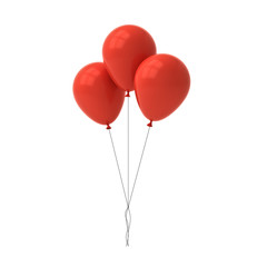 Bunch of red glossy balloons isolated over white background with window reflections 3D rendering