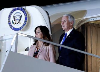 Pence and wife Karen arrive at U.S. Air Force Yokota base in Fussa, Tokyo