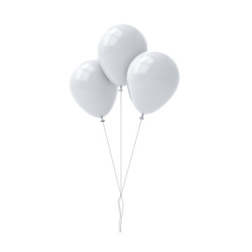 Bunch of white glossy balloons isolated over white background with window reflections 3D rendering