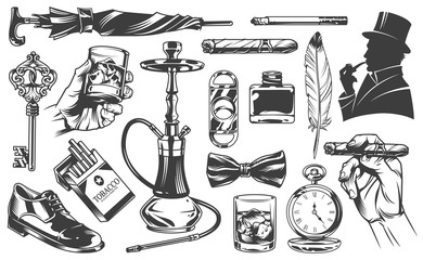 Vintage gentleman elements set